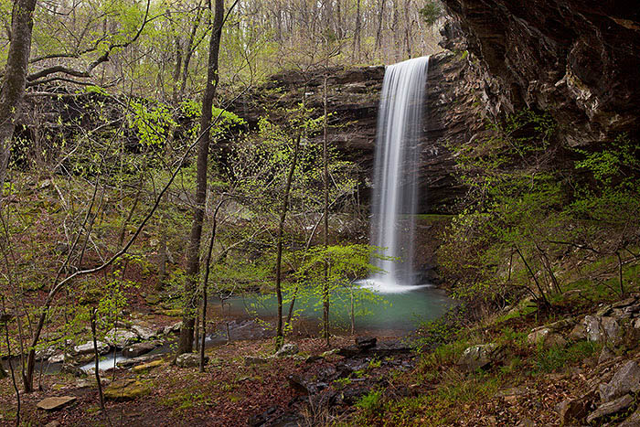 Bowers Hollow Falls is located in the Buffalo National River Wilderness. It cascades 56 into a beautiful green pool surrounded...