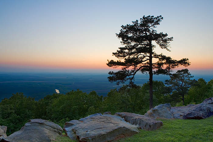 Looking west from Petit Jean Mountain in April.