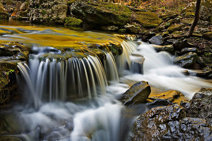 Smith Creek tumbles through huge boulder fields on its course to the Buffalo National River