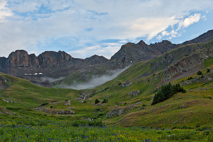 Clouds moved up the valley in American Basin and hung below the peaks just before sunset