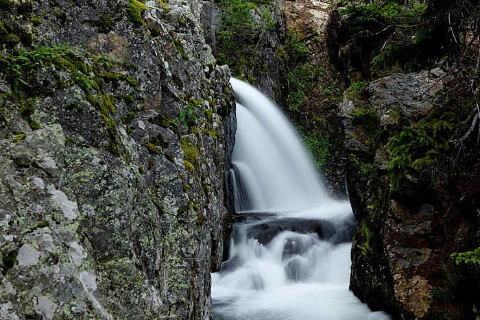This unique waterfall is located a short distance from the trailhead for the McCullough Gulch hike. The creek drops sharply to...