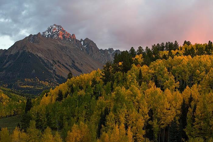 Alpen glow on Mount Sneffels from County Road 7