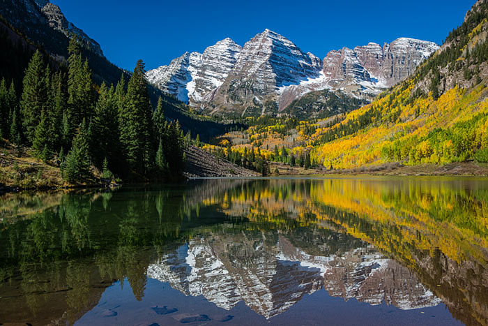 The iconic Maroon Bells in glory.