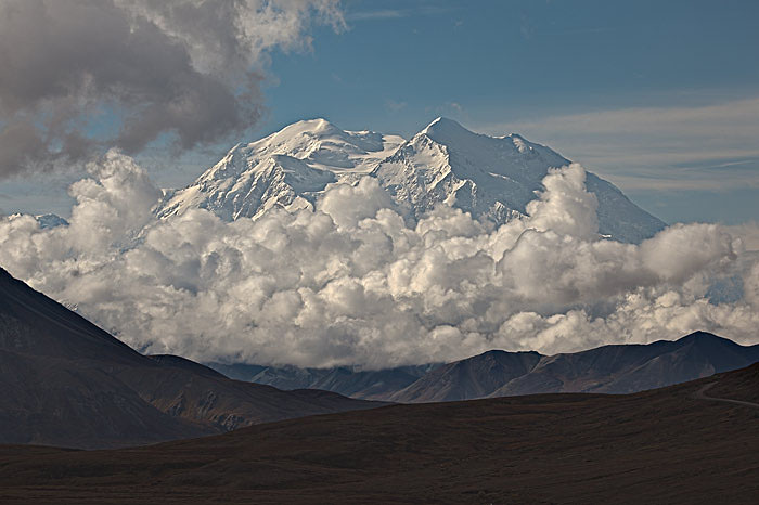 """Denali, """"The High One"""" is 20,320 feet high and rises over 18,000 feet from the lowlands near Wonder Lake."""